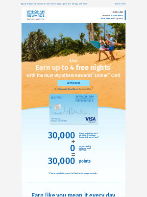Wyndham Hotel Group - Get 30,000 Bonus Points with the NEW Wyndham Rewards® Earner℠ Card