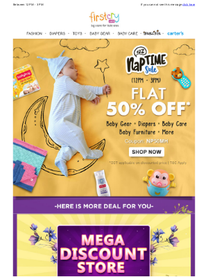 Naptime Sale: Flat 50% OFF on Diapers, Baby Gear, Toys & More