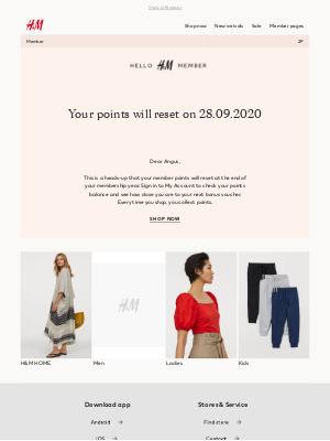 H&M (UK) - Your member points will reset soon