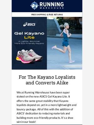Running Warehouse - ASICS' Gel Kayano Lite, a Stability Classic in a Lighter, Bouncier Package!