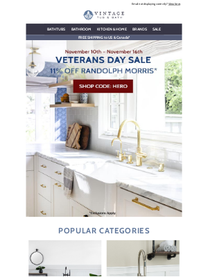Vintage Tub - Our Veterans Day Sale Is Here!