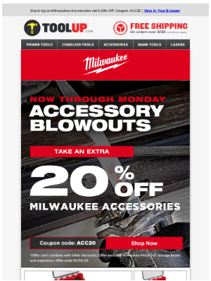 Toolup - Stock Up - 20% Off Milwaukee Accessories