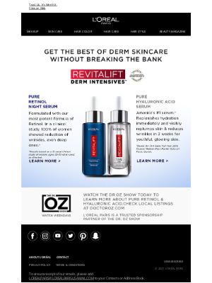 L'Oreal Paris - Tune In To The Dr. Oz Show Today!