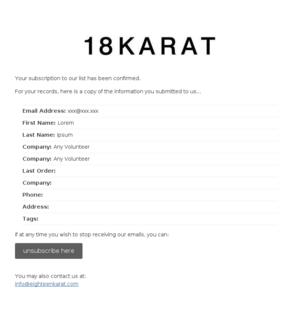 18Karat - USA: Subscription Confirmed