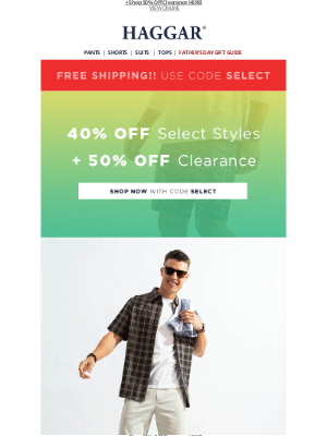 Haggar Clothing Co. - Free Delivery AND Extra 40% Off Inside!!
