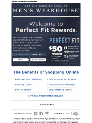 Men's Wearhouse - Thank you for joining Perfect Fit Rewards!