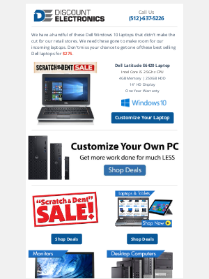 Discount Electronics - $275 Dell i5 Windows 10 Laptop | Discounted