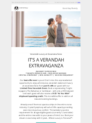 Crystal Cruises - You're Invited to a Verandah Extravaganza – Our Best Offer Ever!