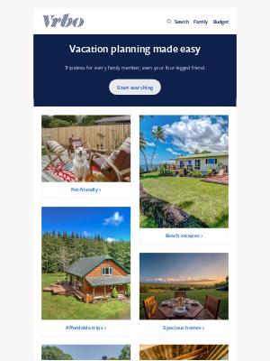 VRBO - 8 family-sized vacations