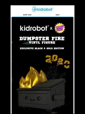 Kidrobot - NEW Dumpster Fire - Exclusive 2020 Black and Gold Edition