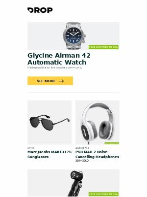 Massdrop - Glycine Airman 42 Automatic Watch, Marc Jacobs MARC317S Sunglasses, PSB M4U 2 Noise-Cancelling Headphones and more...