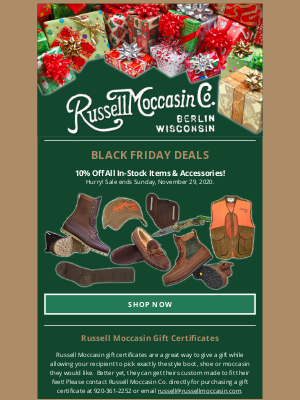 Russell Moccasin Co. - 10% Off Sale Ends Tomorrow!