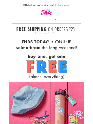 BOGO FREE almost everything & $3 accessories end today!