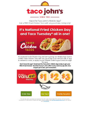 Taco John's - 🌮Get your FREE Fried Chicken Taco, today ONLY!