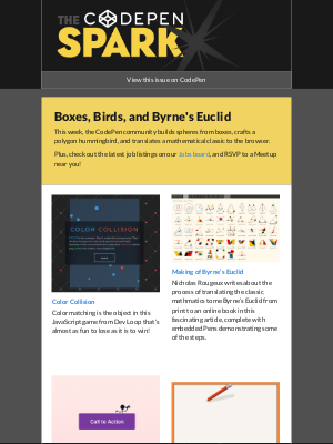 The CodePen Spark - Boxes, Birds, and Byrne's Euclid