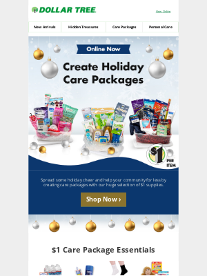 Dollar Tree - Spread Joy with Holiday Care Packages