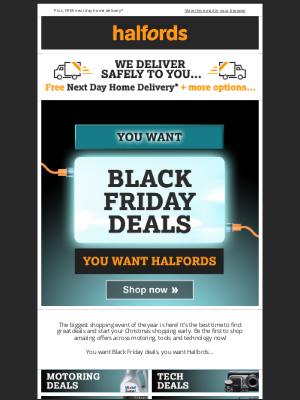 Halfords (UK) - Black Friday Deals START NOW!