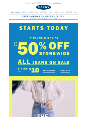 Old Navy Outlet - ALL JEANS ON SALE + introducing EVERYDAY MAGIC 💫 Extraordinary savings on kids & baby essentials, every. single. day.