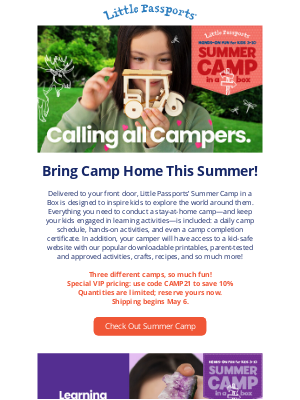 Little Passports, Inc. - Introducing Little Passports' Summer Camp in a Box!  A Made-for-Anywhere Camp Kit for Kids 3 and Up