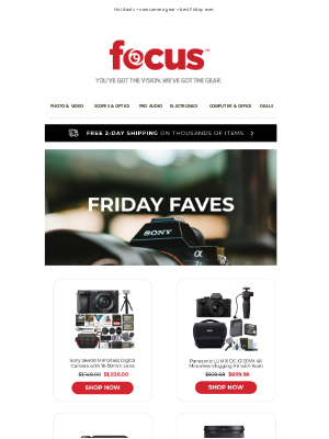 Focus Camera - Happy Friday 🎉 | Save up to $180 on Sony & LUMIX