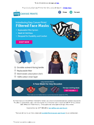 Easy Canvas Prints - NEW Filtered Face Masks | Stay Safe & Comfortable