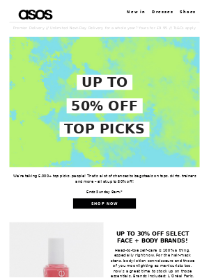 Up to 50% off top picks!