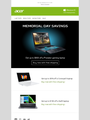 Acer - Memorial Day Sale: Save up to $800 on Predator Gaming Laptops
