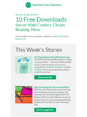 Get 10 Free Downloads: Soccer Math Centers, Clouds Reading, More
