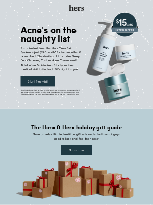 hers - Make Black Friday a dark day for acne