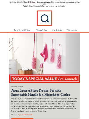 See Today's Special Value Pre-Launch: Aqua Laser 3 Piece Duster Set with Extendable Handle & 4 Microfibre Cloths
