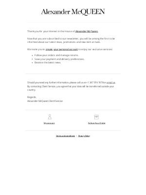 Alexander McQueen - Your Alexander McQueen Newsletter Subscription