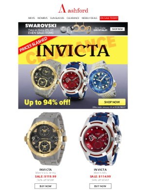 Ashford - INVICTA CLEARANCE | UP TO 94% OFF!