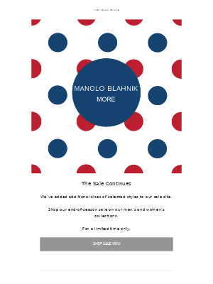 Manolo Blahnik - The Sale Continues | More Sizes Added