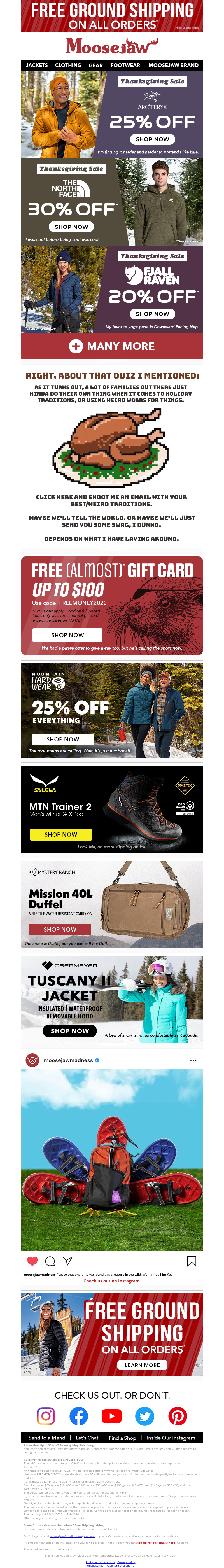 Promotional thanksgiving email example from Moosejaw