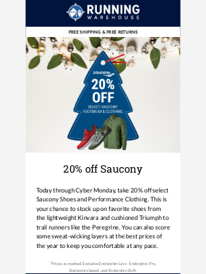 20% off Saucony - Stock up on Saucony at the best prices of the year!  	 Tip