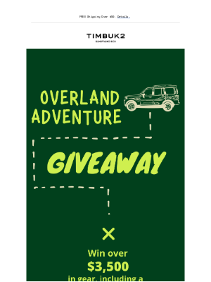 Timbuk2 - Enter Our Overland Adventure Giveaway!