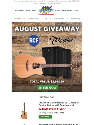 This Takamine Garth Brooks GB7C & RCF Evox JMix 8 Could Be Yours - Enter Now!