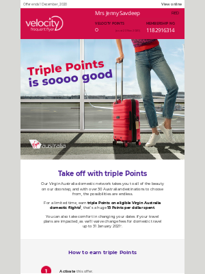 Velocity Frequent Flyer (AU) - Jenny, earn triple Points with Virgin Australia