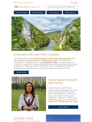 AmaWaterways - Now Extended: FREE Transylvania Land Package