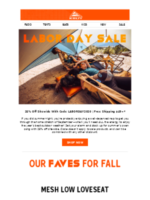 Kelty - Labor Day Savings Continue!  Save 25% Sitewide