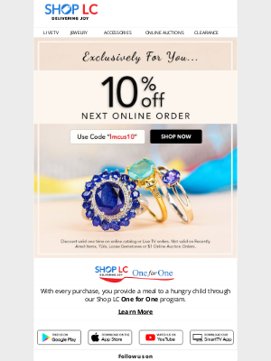 Shop LC - Hey, this EXCLUSIVE 10% off discount is for you!