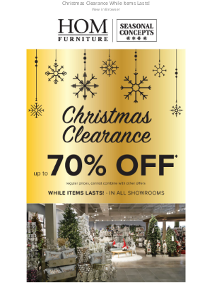 HOM Furniture - ❄️ Christmas Clearance up to 70% Off