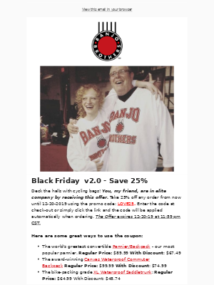 Banjo Brothers - Black Friday II: A 25% Holiday Coupon Just For You