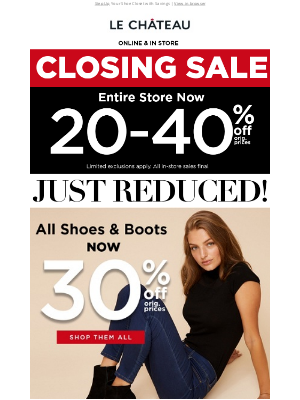 LE CHÂTEAU - 👢 JUST REDUCED! 30% OFF ALL Shoes & Boots 👢