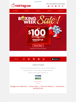 Red Tag Vacations (CA) - Boxing Week Sale!