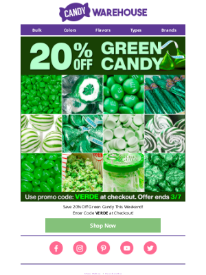 💚 20% Off Green Candy - This Weekend Only!