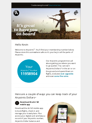 Air New Zealand - Kevin, welcome to Airpoints