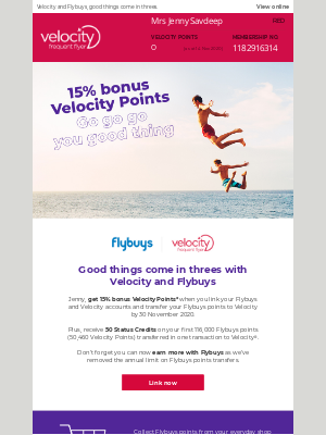 Velocity Frequent Flyer (AU) - Jenny, don't miss out on 15% bonus Velocity Points with Flybuys