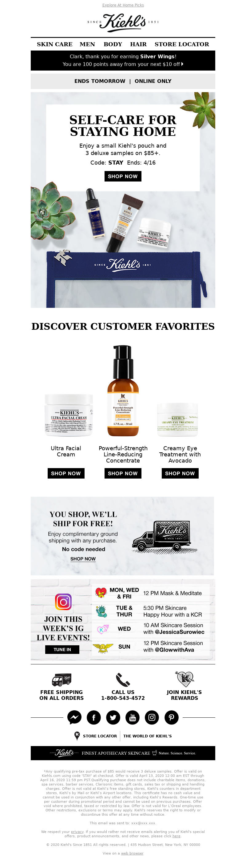 Explore At Home Picks Kiehl's SINCE 1851 Clark, thank you for earning Silve