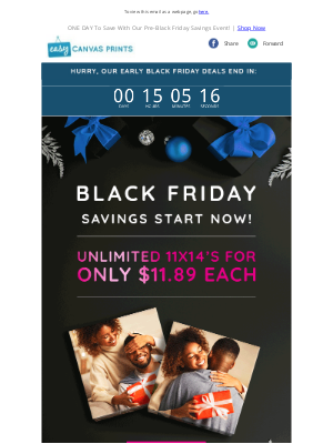 Easy Canvas Prints - Unlimited 11x14's For ONLY $11.89 Each ⏰ Black Friday Deals Are Here!